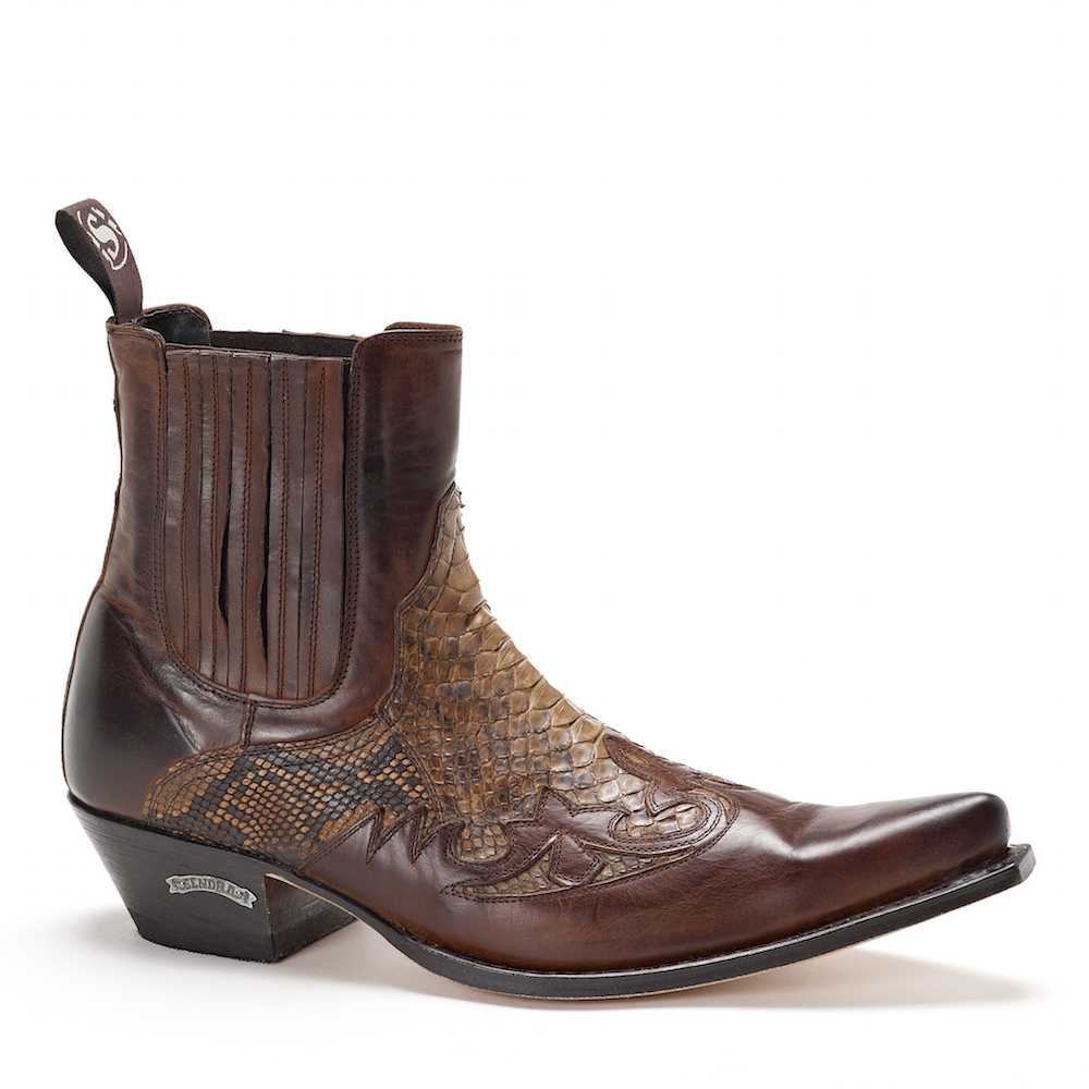 Mens Sendra 9396 Brown Snakeskin Ankle Boot